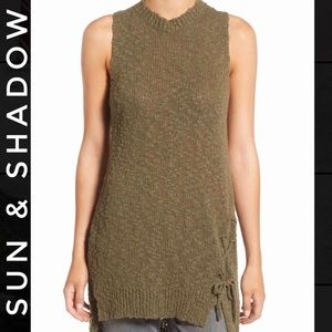 Sun & Shadow Green Quilted Cotton Tunic Tank Large